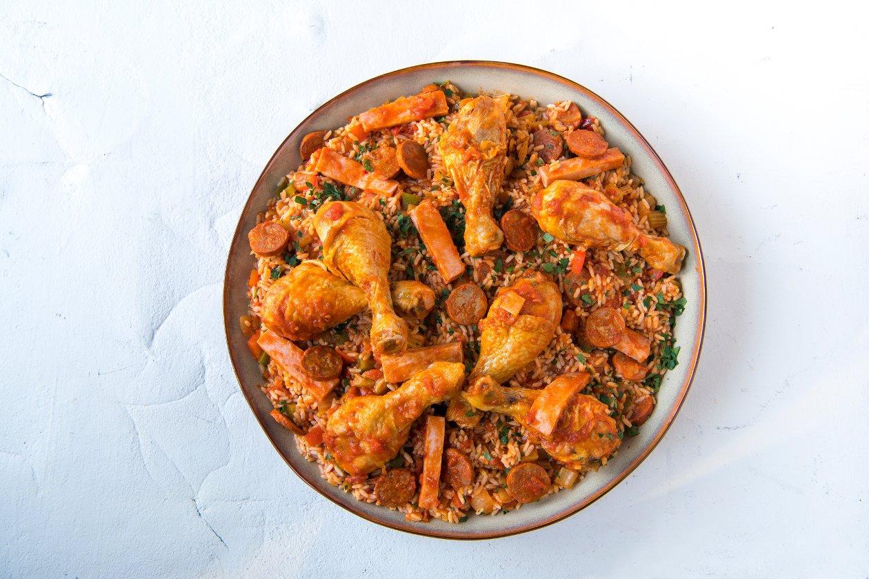 Chef Traiteur - Creoolse jambalaya met kip, chorizo en ham