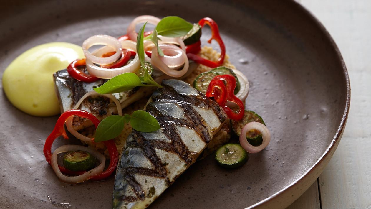Gegrilde makreel met tabouleh en vadouvan