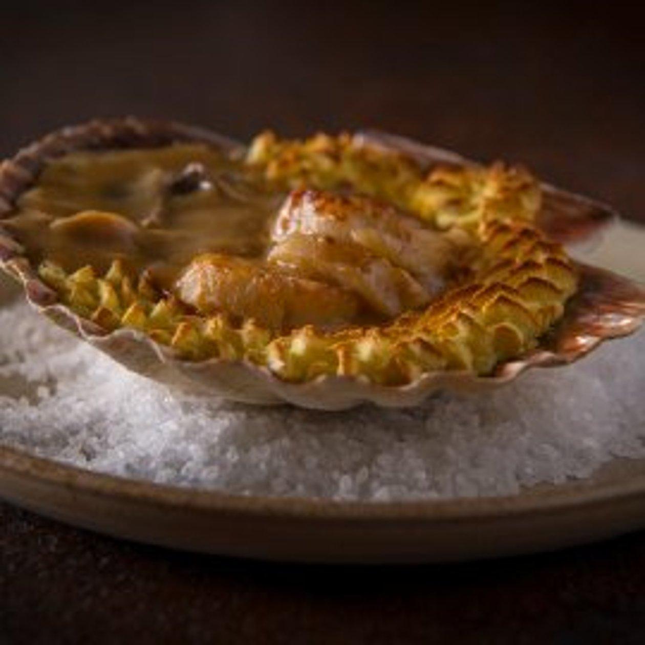 Gevulde sint-jakobsschelp met champignon – Recept