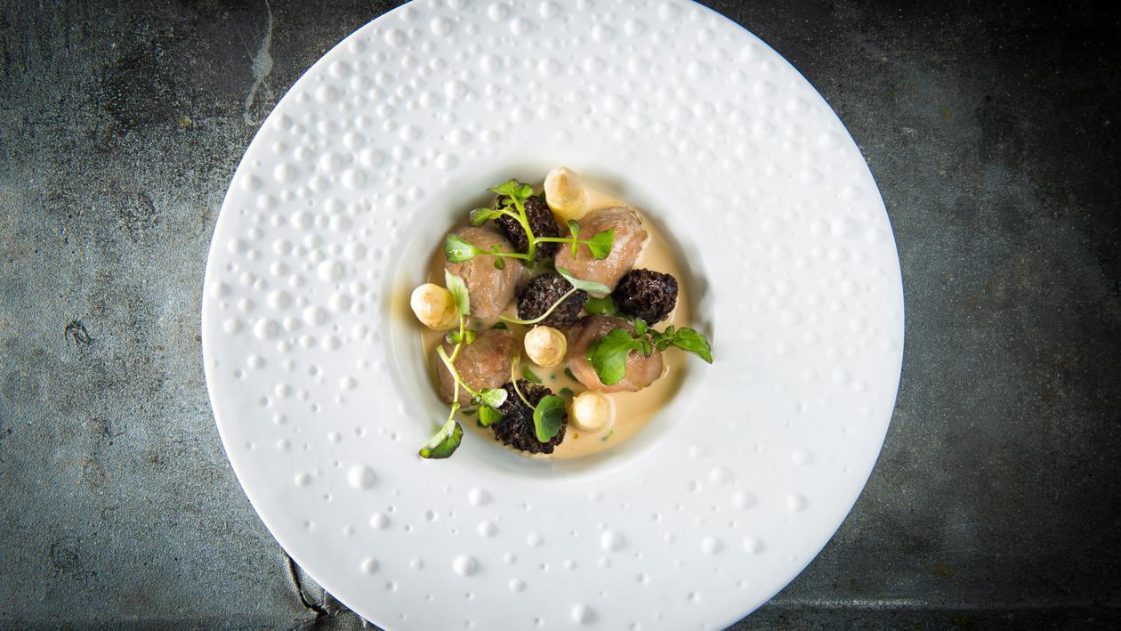Hoenderhaas met witte asperges, morieljes en een vin jaune saus – Recept