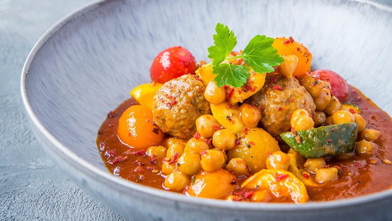 Less meatballs met vinaigrette van tomaat