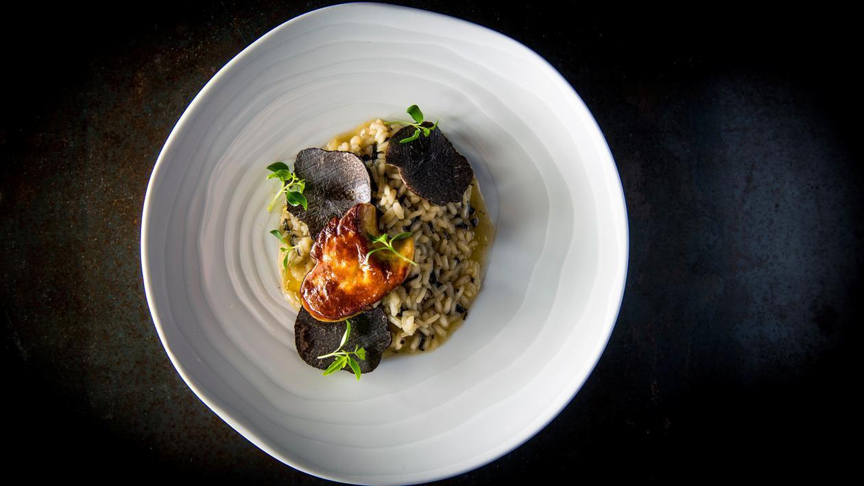 Risotto met truffels en gebakken eendenlever uit de Landes
