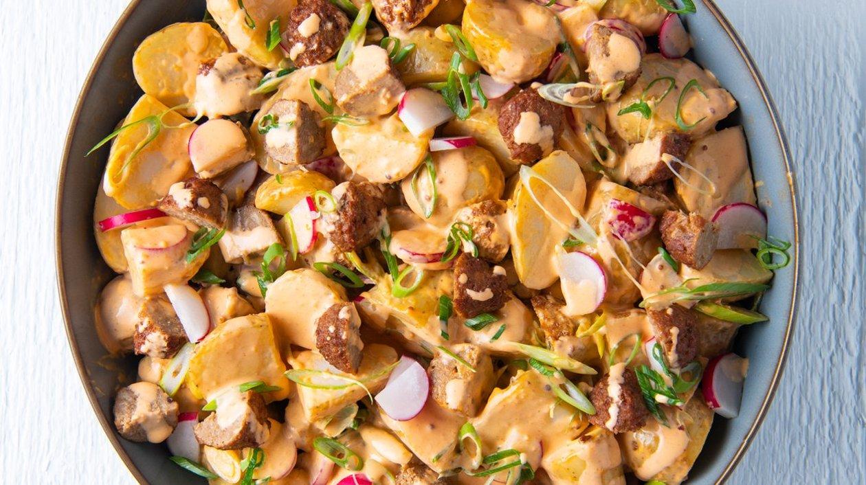 Spicy aardappel veggie meatball salade