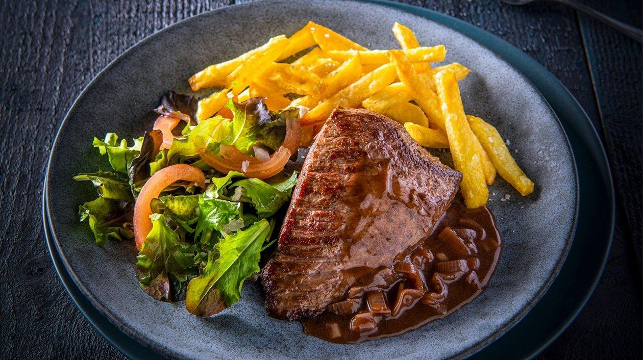 Steak in sjalotsaus
