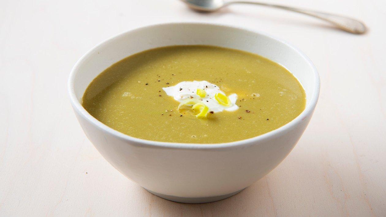 Vlaamse soep van spruitjes met crème fraiche
