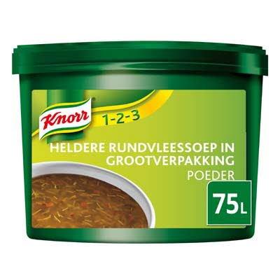 Knorr 1-2-3 Heldere Rundvleessoep in grootverpakking Poeder 75L -
