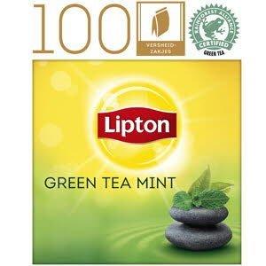 Lipton Thee Professioneel Groene Thee Munt 100 zakjes met envelop