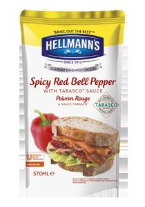 Hellmann's Sandwich Saus Pittige Rode Paprika 570ml - Hellmann's Sandwich Sauzen zijn gemaakt met natuurlijke ingrediënten zoals rode paprika en Tabasco©
