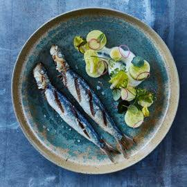 Gegrilde sardines met komkommer, geitenyoghurt en avocado