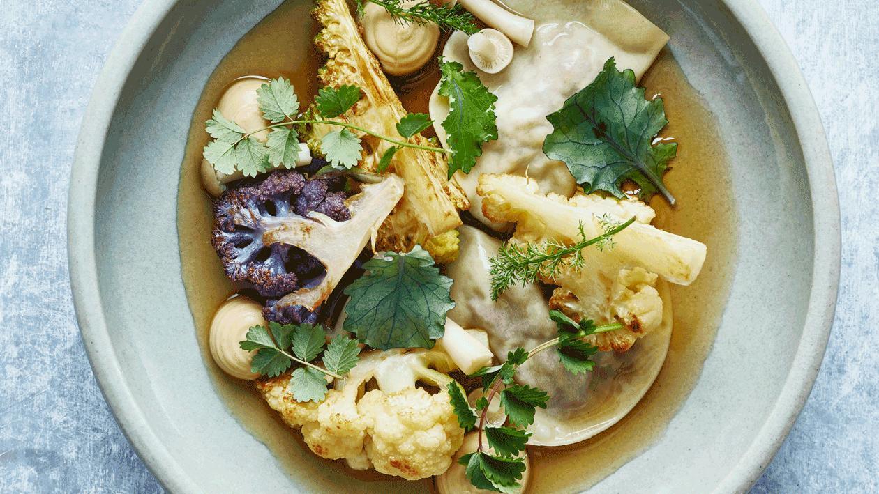 Bloemkool met miso en champignons