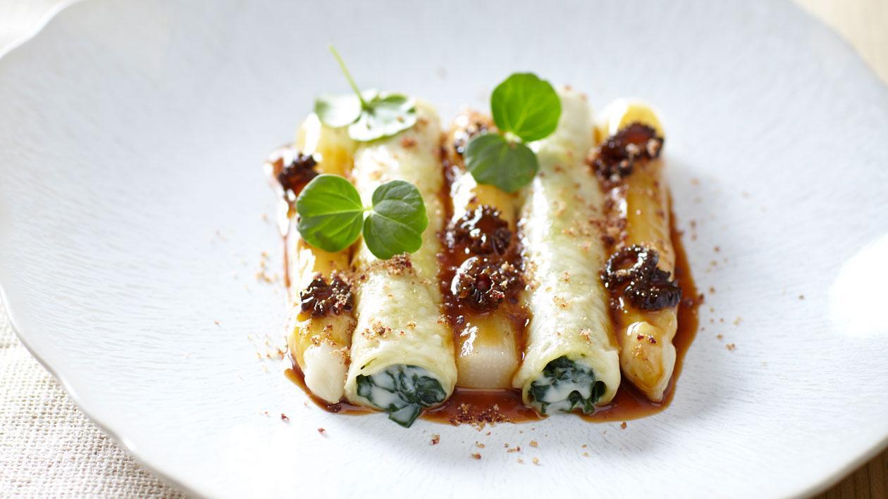 Cannelloni met spinazie, morilles en asperges