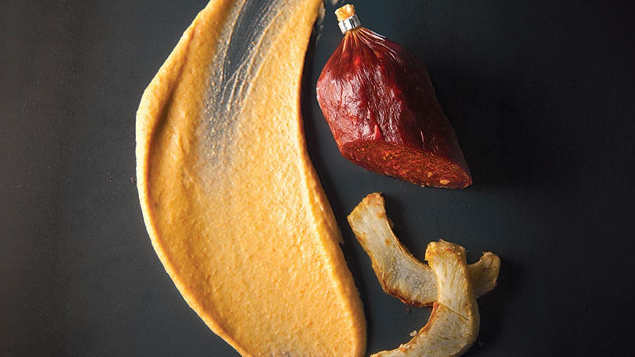 Chorizocrème en artisjokpuree