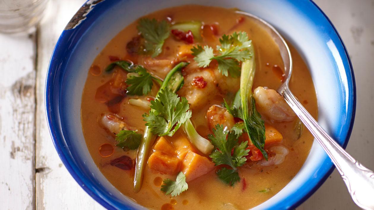Currysoep uit Chiang Mai met gamba's en koriander - Knorr
