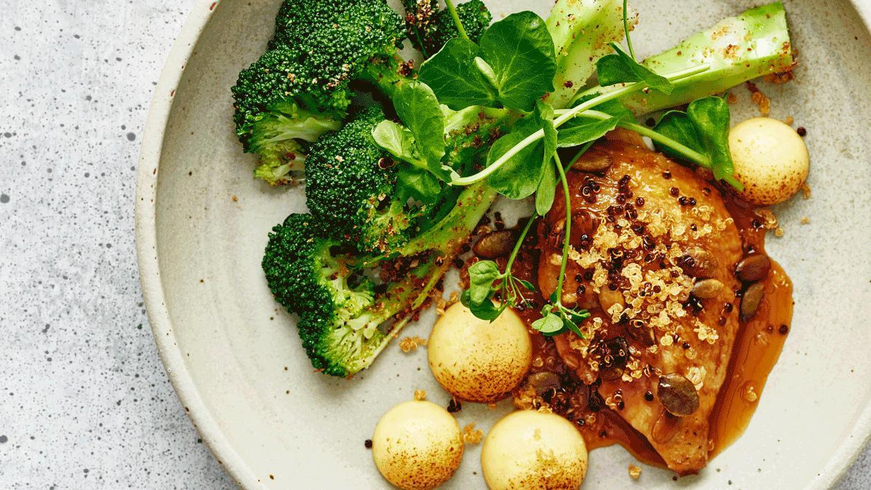 Duif met polenta, broccoli, vadouvan en sinaasappel (variatie)