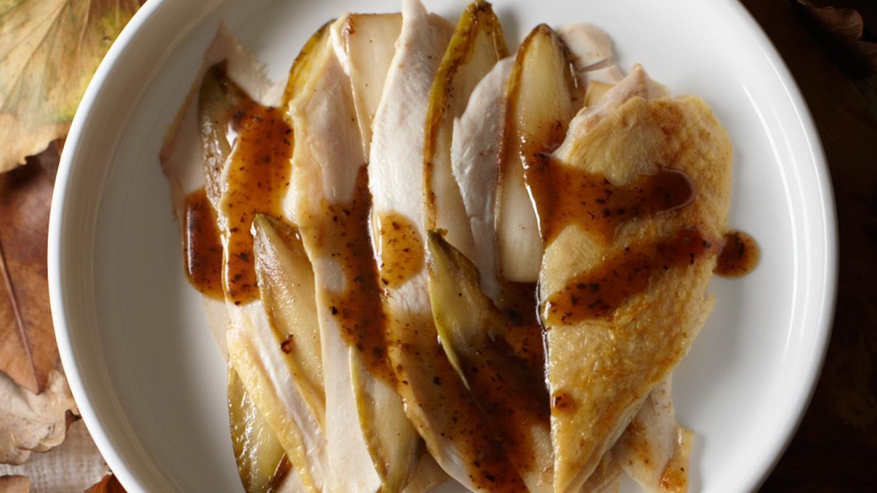 Fazantfilet met gebakken witlof en truffeltapenade