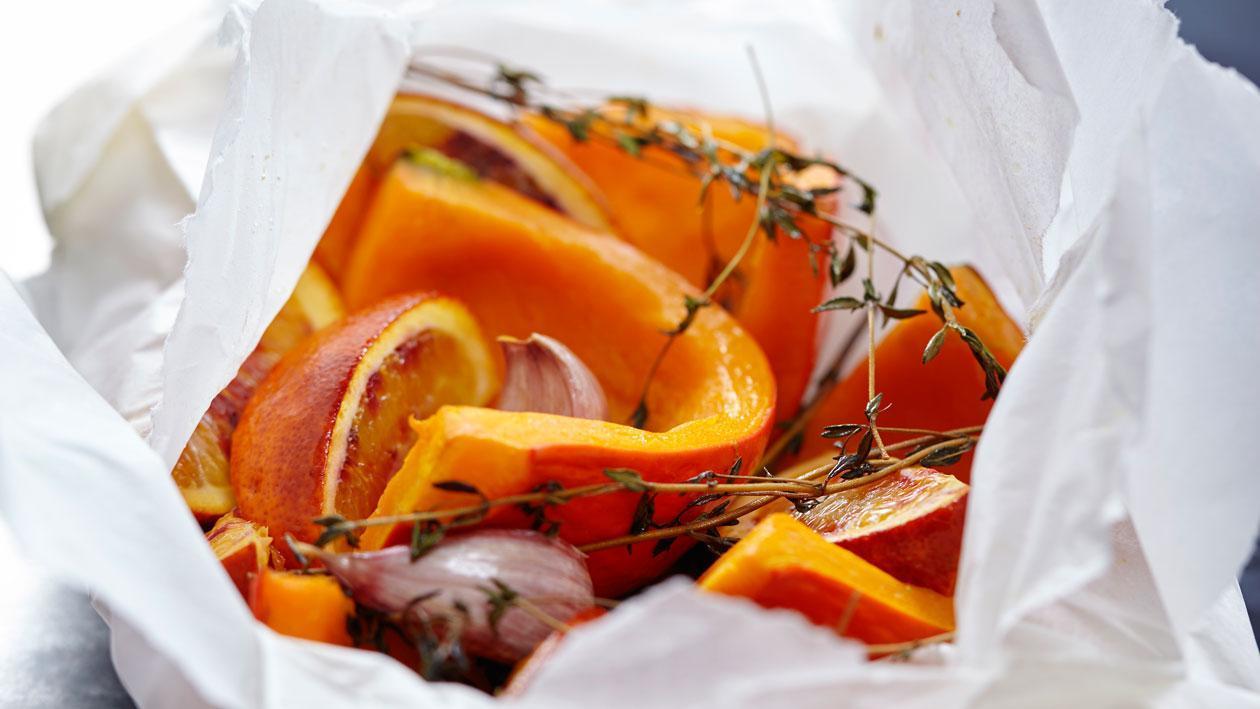 Geroosterde pompoen met citrus en tijm