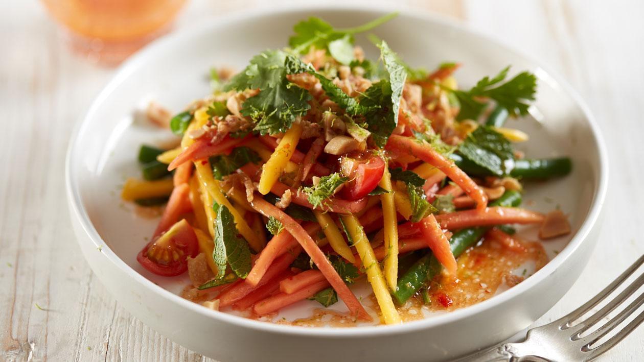 Groene Papaya salade met haricots-verts en limoen