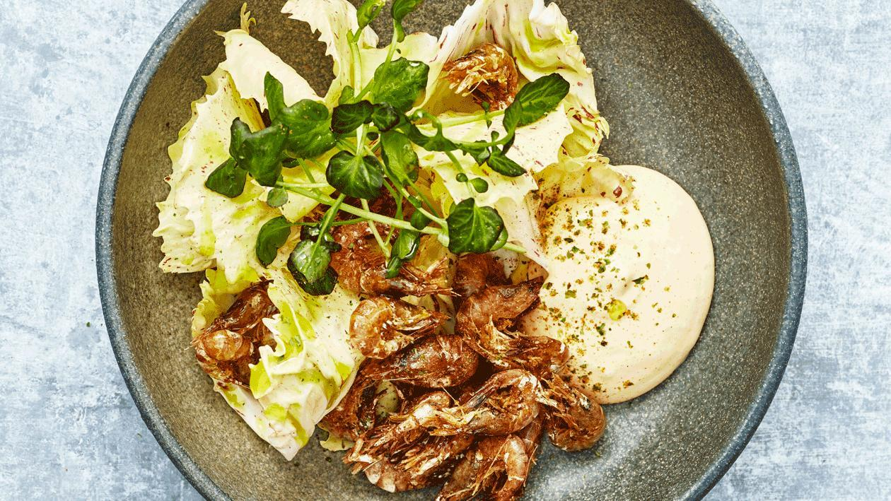 Hollandse garnalen met radicchio en kimchi Hollandaise