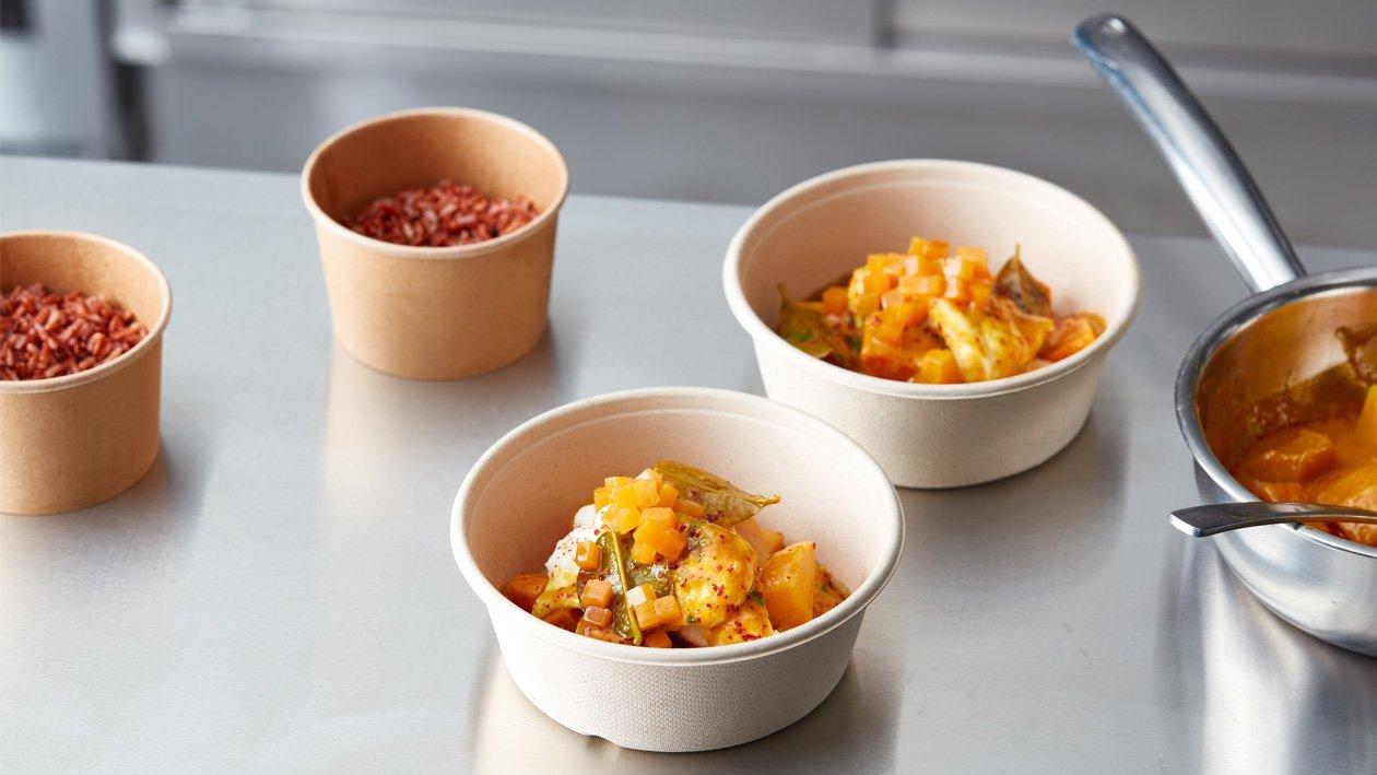 Laksa curry met pompoen, zoete aardappel en tongfilet (delivery)