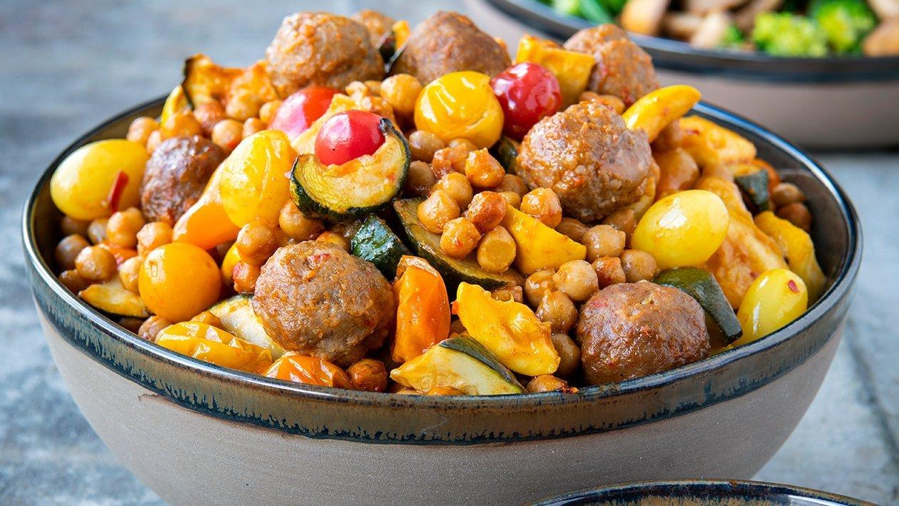Less meat balls vinaigrette van tomaat