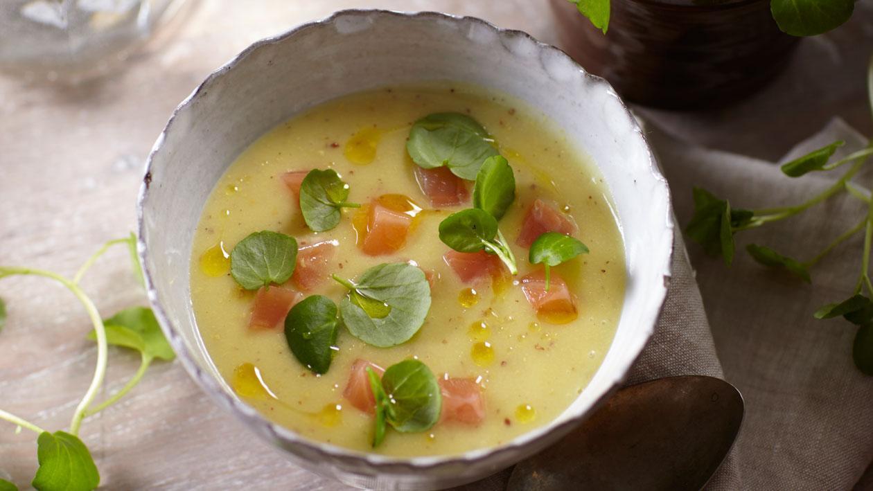 Mosterdsoep uit Meaux met gerookte zalm en waterkers - Knorr Supérieur