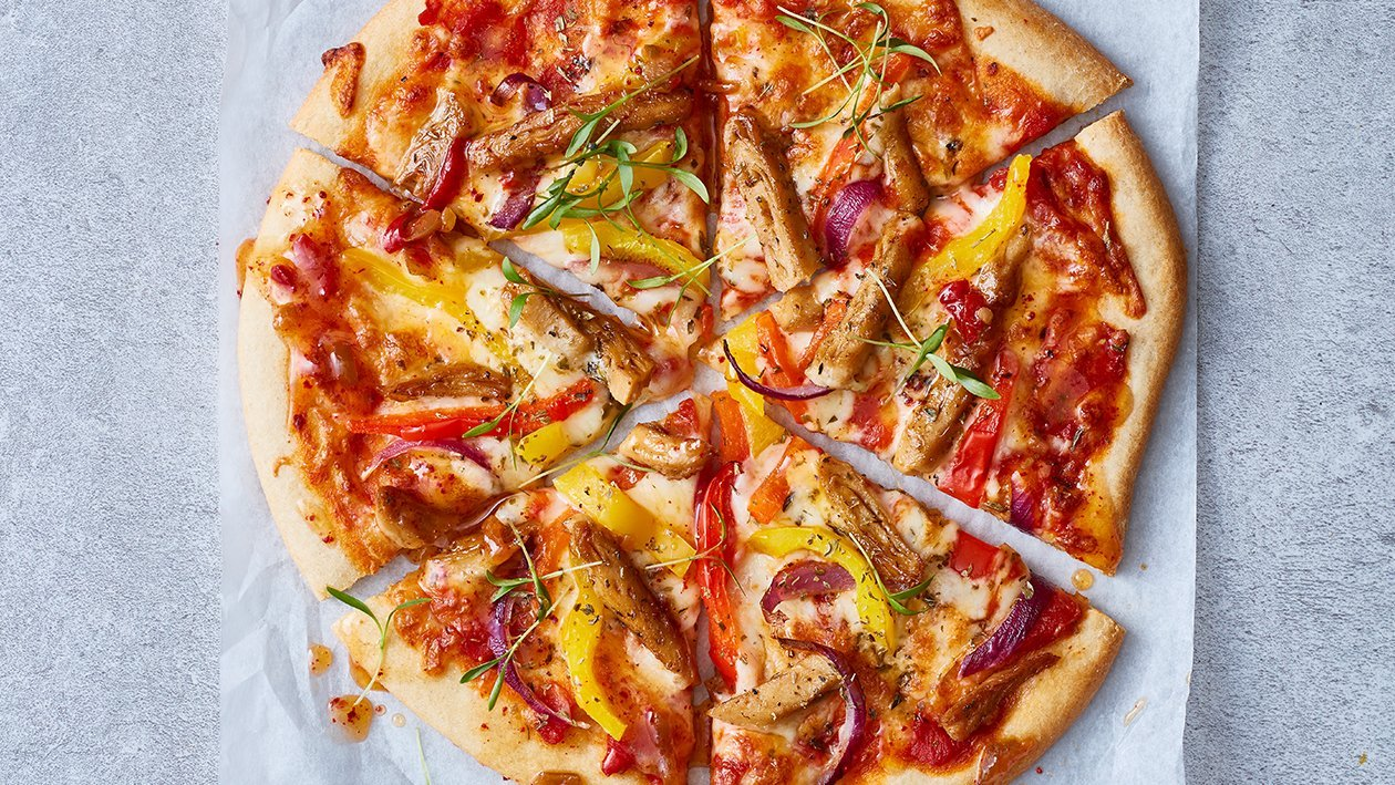 Pizza met vegetarisch gyros