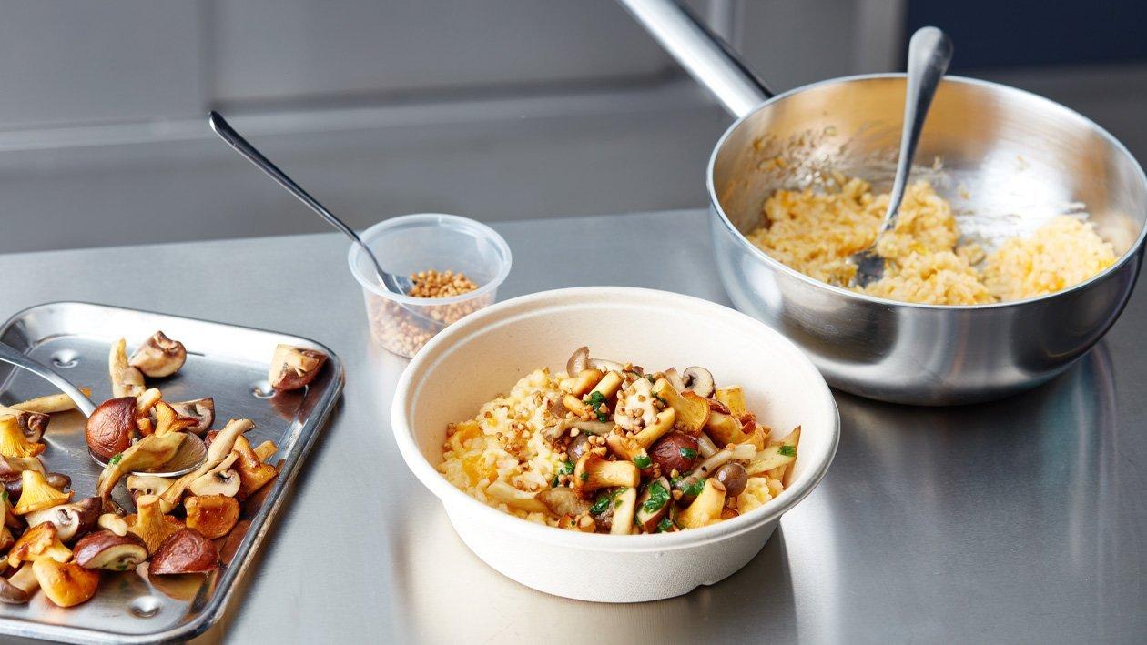 Pompoen risotto met gebakken paddenstoelen (delivery)