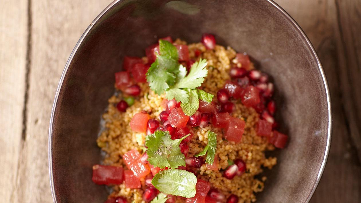 Taboulé met granaatappel, watermeloen en kruiden