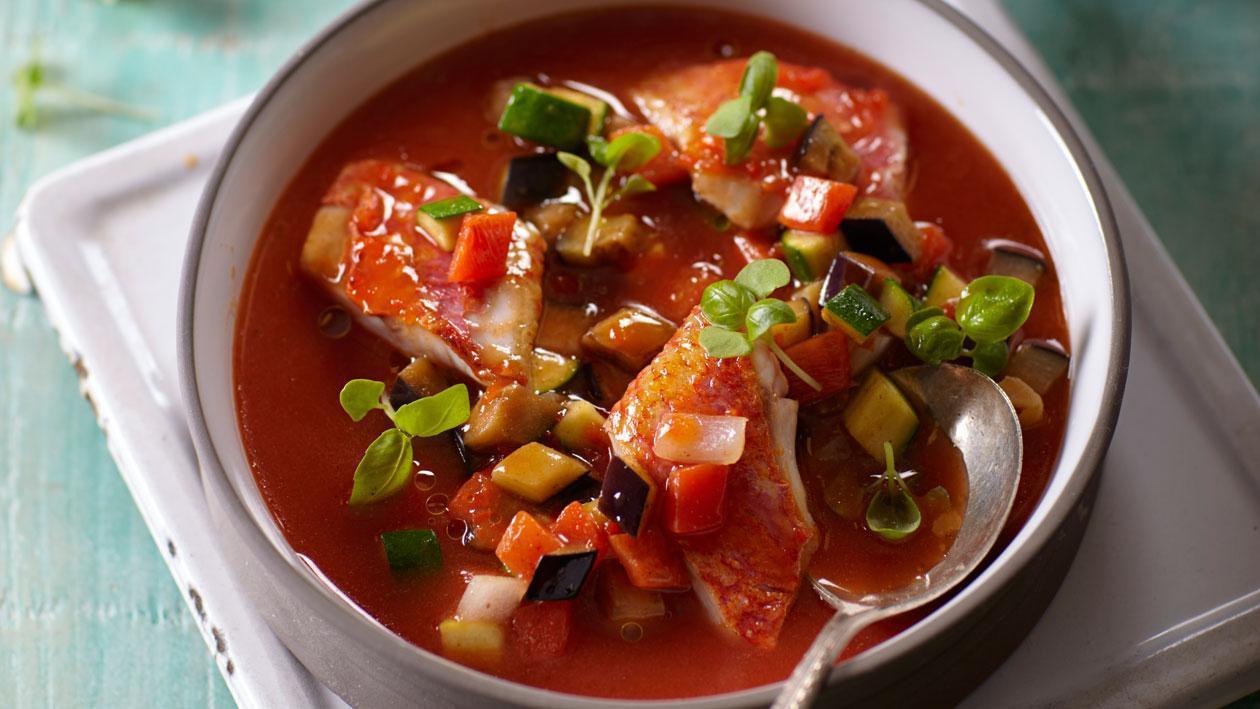Tomatensoep uit Nice met rouget Provenςaalse groenten - Knorr Supérieur