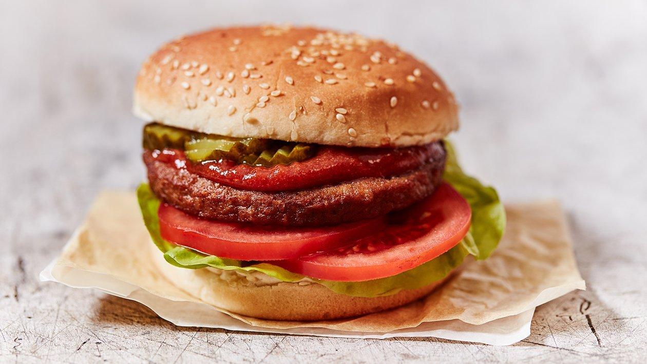 Vegetarische burger met ketchup