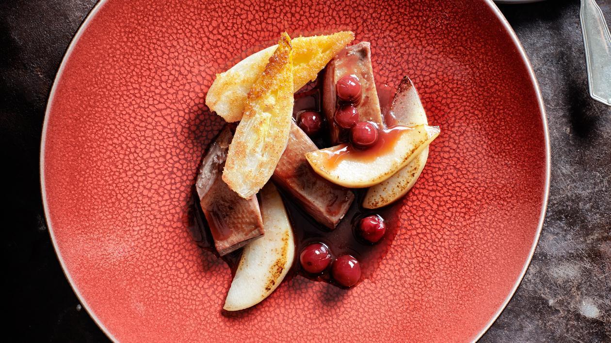 Wilde eend met witlof, peer en cranberry's