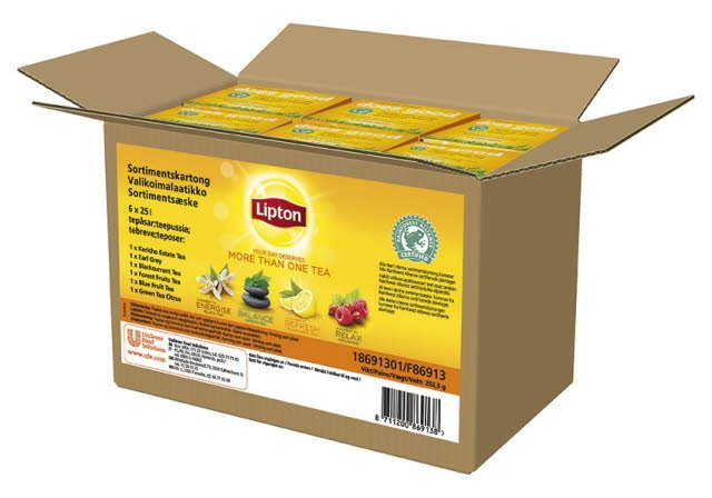 Lipton Sortimentskartong Rainforest Alliance te 6x25 ps -