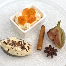 Juletrio med Rooibosfiken, multekrem og hvit sjokolademousse