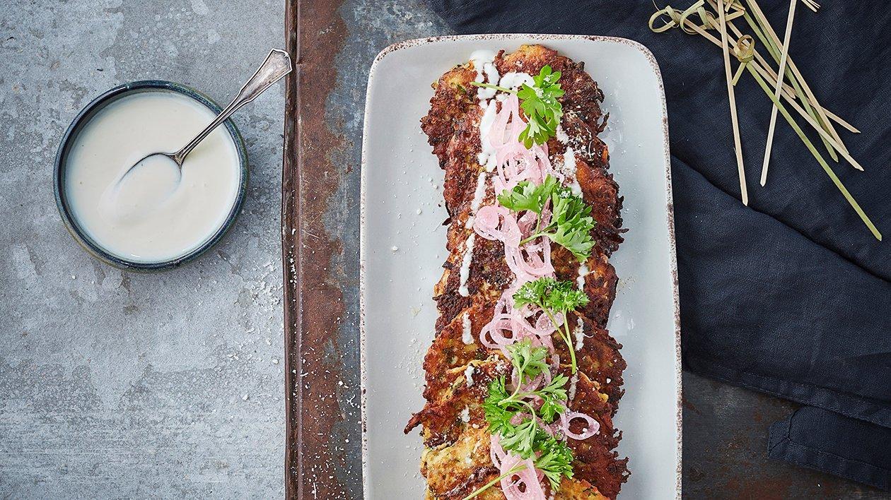 Zucchini frittas med mynteyoghurt – Oppskrift