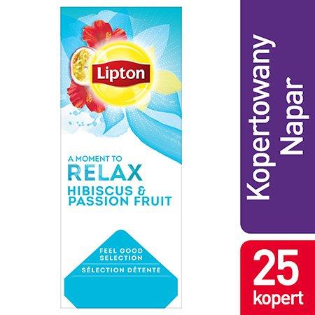 Lipton Feel Good Selection Hibicus & Passion Fruit (Herbatka aromatyzowana z hibiskusem i marakują) 25 kopert -