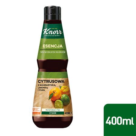 Esencja Cytrusowa Knorr Professional 0,4 l - Wykonana z naturalnych składników, takich jak mandarynka, perska limonka, yuzu i cytryna.