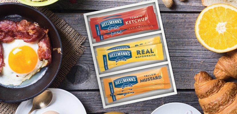 Majonez Hellmann's w saszetkach 15 ml x 200 szt. - Majonez wyprodukowany z jajek pochodzących od kur z wolnego wybiegu. Wygodne opakowanie jedno-porcjowe z perforowanym otwarciem zapewnia, estetykę i higienę serwowania.
