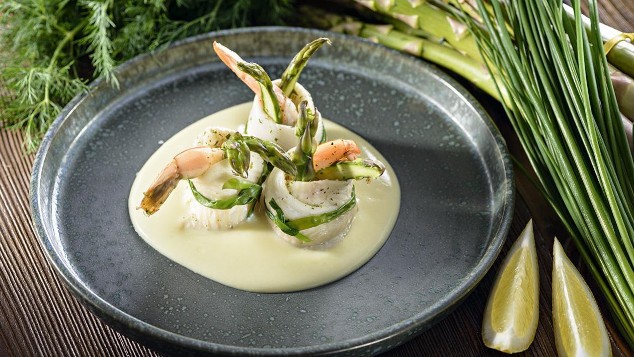 Involtini di sogliola di gamberetti – roladki z soli z krewetką na sosie cytrynowo-maślanym