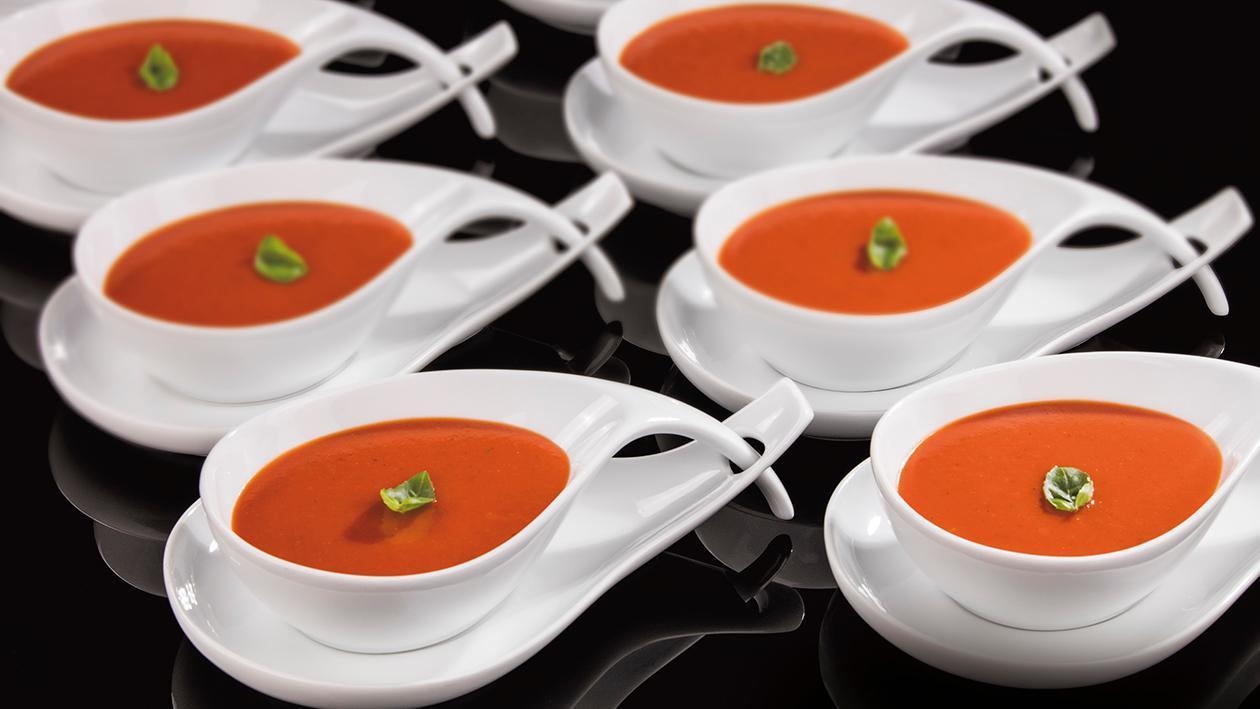 Krem ze skarmelizowanych pomidorów, bazylii i mascarpone