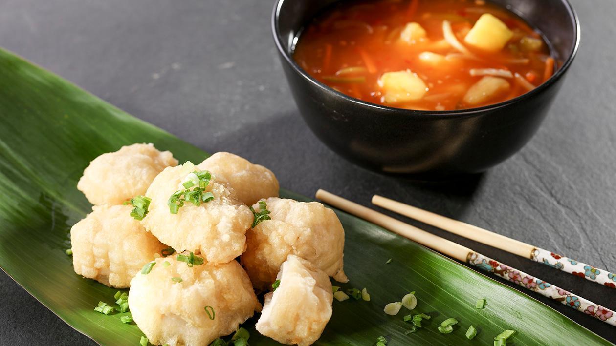 Kurczak słodko-kwaśny z ananasem i pędami bambusa