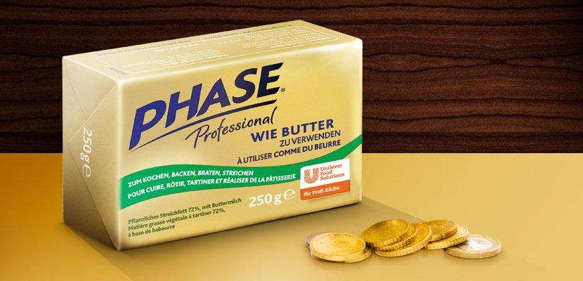 Phase Professional wie Butter zu verwenden Streichfett (72% Fett) 250 g - Gut wie Butter* - aber ca. 30% günstiger!**