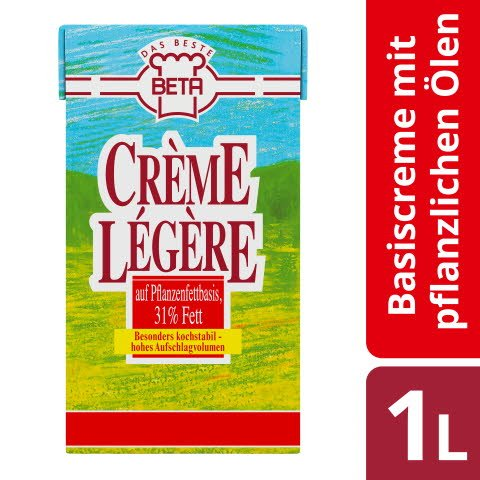 Beta Crème Légère - Basiscrème mit pflanzlichen Ölen 1 L
