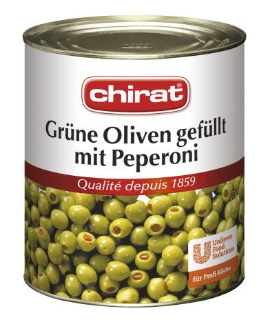 Chirat Grüne Oliven gefüllt mit Peperoni 820 g