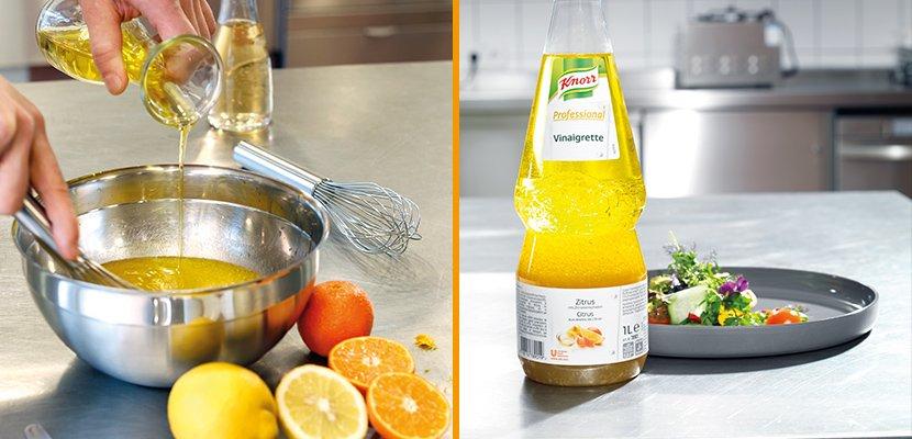 Knorr Professional Vinaigrette Zitrus 1 L - 2-Phasentrennung, wie bei einer selbst gemachten Vinaigrette.