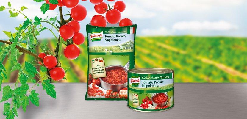 Knorr Tomato Pronto Napoletana Tomatensauce stückig Beutel 3 KG - 100% nachhaltig & in 24h vom Strauch in die Verpackung.