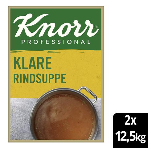 Knorr Professional Klare Rindsuppe mit Suppengrün 2x12.5kg - Knorr Klare Fleischsuppe – beliebter Geschmack, sofort einsatzbereit und gut kalkulierbar.