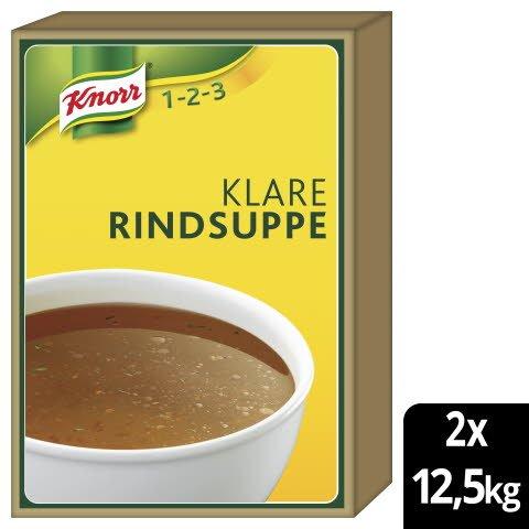 Knorr Klare Rindsuppe mit Suppengrün 2x12.5kg - Knorr Klare Fleischsuppe – beliebter Geschmack, sofort einsatzbereit und gut kalkulierbar.
