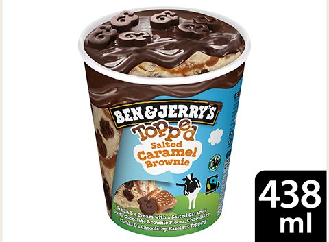 Ben & Jerry's Topped Salted Caramel Brownie glace pot 438ml -