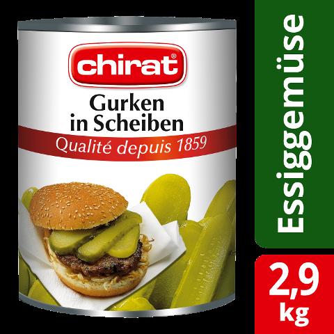 Chirat Concombres en tranches 2,9 KG - Concombres de qualité CHIRAT – toujours coupés à la perfection.