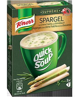 KNORR Suprême Quick Soup Asperges à la crème fraîche et à la ciboulette emballage 3 x 1 portion -